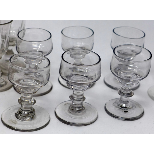 39 - A collection of glass ware, to include 6 cut glass sherry glasses, H.11cm, a set of 6 Georgian liquo...
