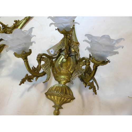 64 - WITHDRAWN-A pair of 18th century style ormolu wall lights, with floral glass shades...