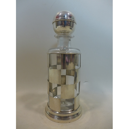 14 - A Gucci silver decanter holder, with glass decanter, stamped 925, Gucci Italy, H.30cm...