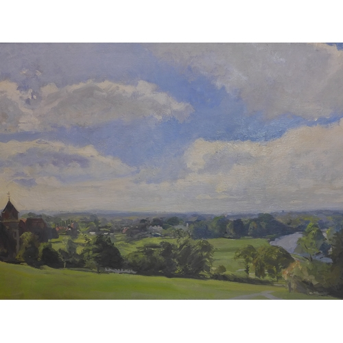 175 - A gilt-framed large oil on canvas of Richmond Hill and the River Thames signed 'Morgan 78' bottom ri...