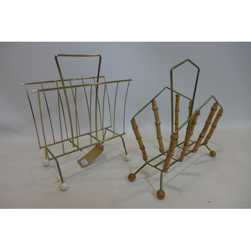 176 - Two mid 20th century magazine racks, to include one mounted with bamboo, H.41 W.34 D.20; and H.39 W....