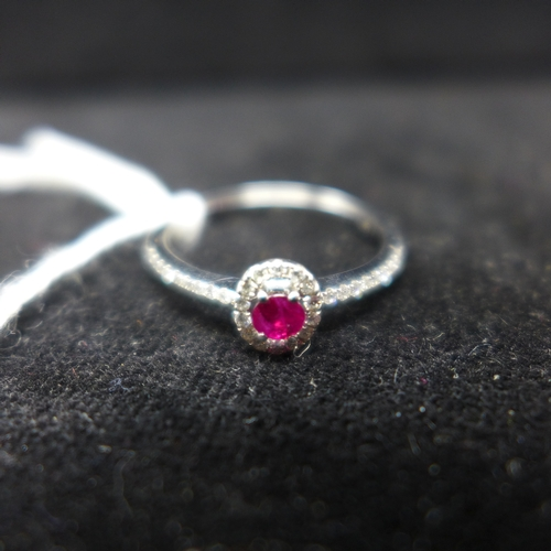 305 - A boxed 18ct white gold ruby and brilliant-cut diamond ring, centrally set with a faceted oval-shape...
