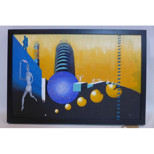 113 - George Tincu (Contemporary school), 'London Games', oil on canvas, signed and dated 09 to lower righ...