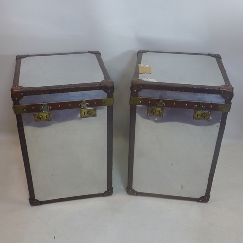 308 - A pair of aviator mirrored trunks, leather and stud bound, stamped Louis Vuiton, H.70 W.45 D.45cm (2...