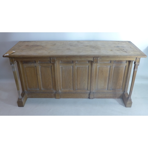 276 - A late 19th century shop counter, the moulded top above two Corinthian columns to front, and an arra...
