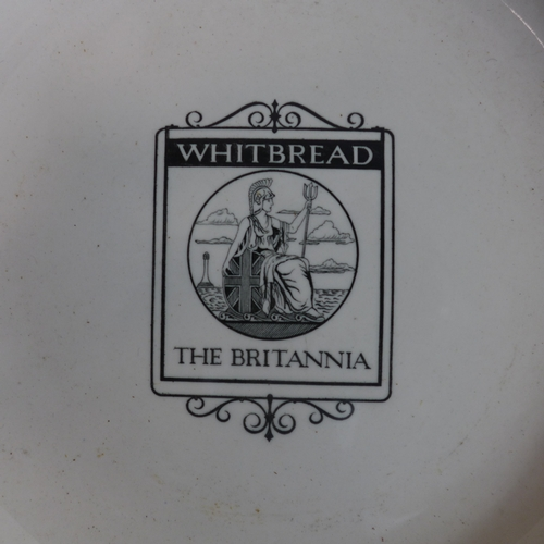 366 - A set of 10 Copeland Spode plates, marked 'Whitbread, The Britannia', with light green rims, Diamete...