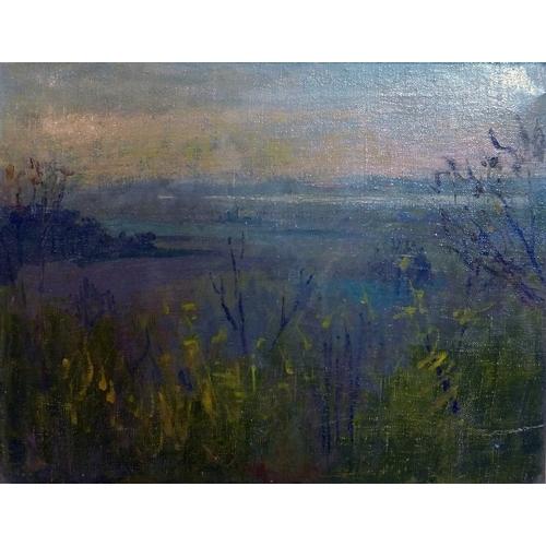 10 - Margaret Thomas RA, NEAC (1916-2016) A framed abstract oil on canvas of Thames marshland, 34.5 x 44c...