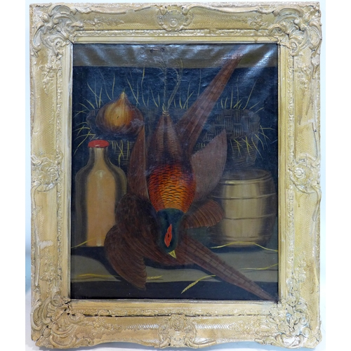 29 - Early 20th century school, a dead pheasant hanging in a parlour, oil on canvas, 59 x 49cm...