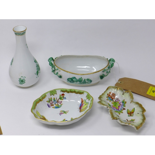 46 - Three Herend porcelain dishes and a Herend vase...