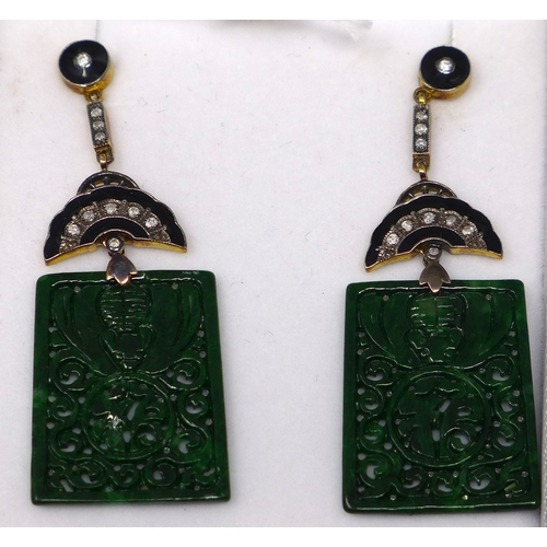 11 - A boxed pair of 18ct yellow gold Art Deco style earrings set with brilliant-cut diamonds and onyx su...