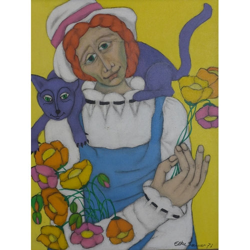 2 - Elke Sommer b.1940 (German), lady with flowers and a cat, oil on canvas, signed and dated '73, 49 x ...