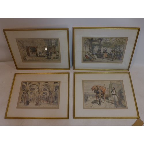 32 - John Frederick Lewis (British, 1805-1876), four hand-coloured lithographs, including; 'Peasants Danc...