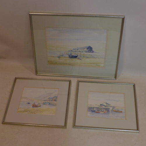 37 - Late 20th century British school, a set of three watercolours of Lyme Regis, each signed 'Long' and ...