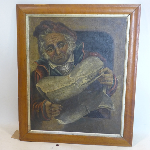 12 - A 19th century oil on canvas, man reading newspaper, set in maple frame, 53 x 43cm...