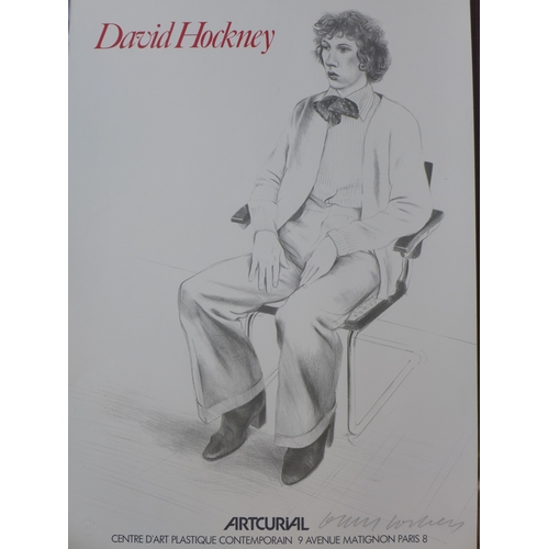 21 - A David Hockney lithographic poster for 'Artcurial', with blind stamp for Mourlot, signed in pencil,...