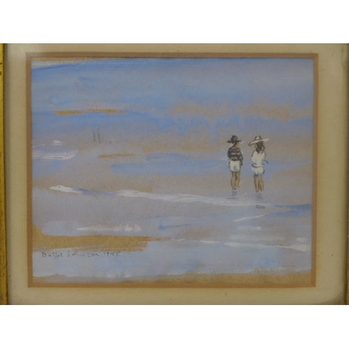 17 - Buffie Johnson (American, 1912-2006), Two figures on a beach, watercolour, signed and dated 1945 to ...