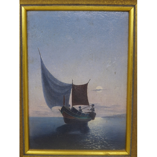 20 - An early 20th century oil on board of a boat at dusk, in giltwood frame, 15.5 x 11.5cm...