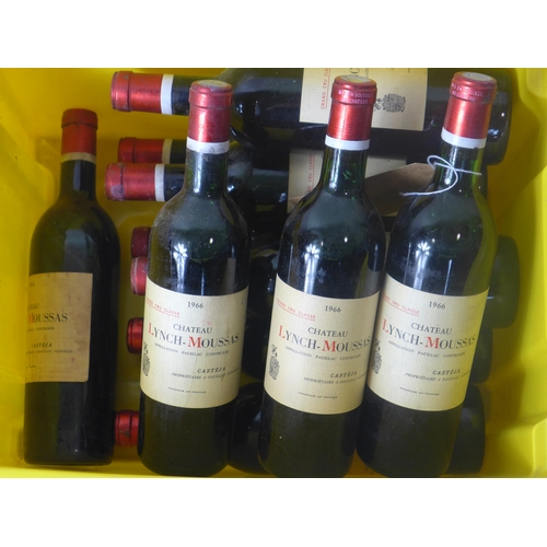 22 - Chateau Lynch-Moussas, 1966, Grand Cru Classe, Pauillac, France, 750ml, 11 bottles...