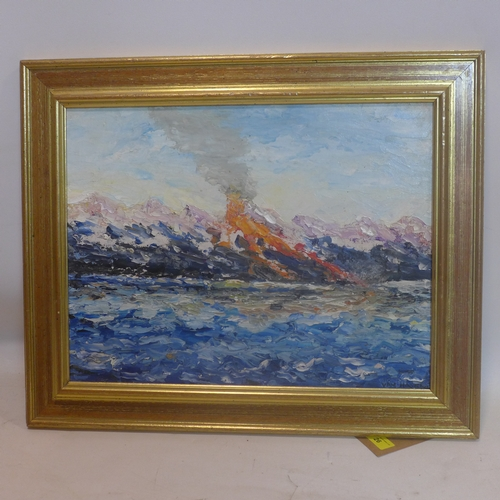 26 - A gilt framed oil on board depicting an impasto study of an erupting volcano entitled, The Face of E...