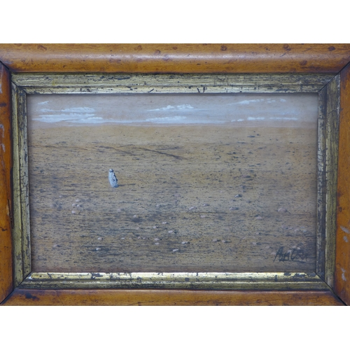 35 - Late 19th / early 20th century school, a figure in a barren landscape, gouache and gilt, signed Anto...
