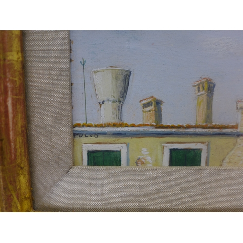 38 - Mid 20th century school, 'Venetian Chimney Pots', oil, in glazed giltwood frame, signed 'Folio' to l...