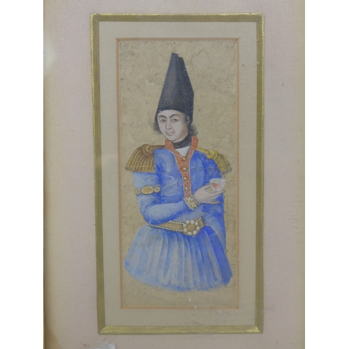 5 - A 19th century Iranian portrait of a Qajar prince, watercolour and gilt painted, framed and glazed, ...