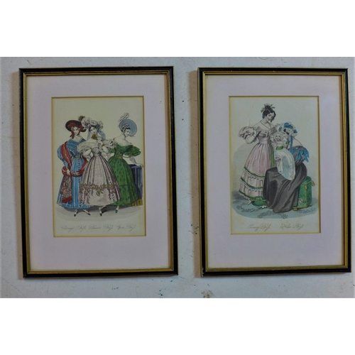 314 - A pair of 19th century hand-coloured ladies fashion engravings, both framed and glazed, 21 x 14cm...