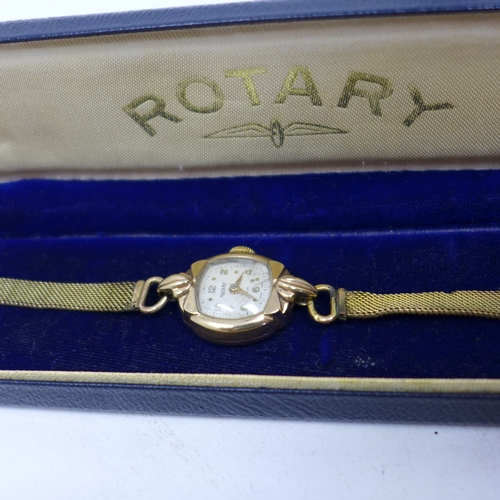 364 - A boxed vintage Rotary gold plated cocktail watch, the dial with alternating Arabic numerals, on gol...