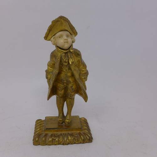 365 - A 19th century ormolu figure with carved ivory face, signed 'Omerth', H.16cm...