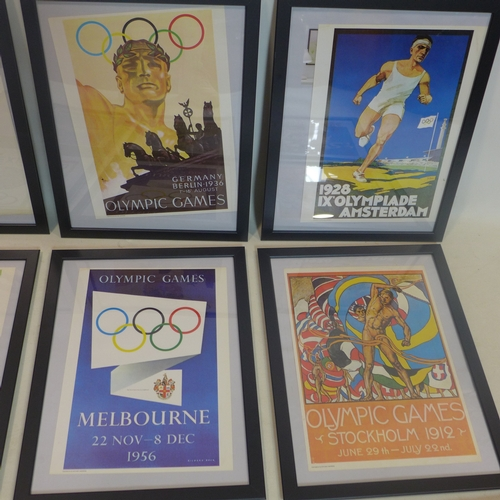 238 - A set of 12 framed and glazed colour Olympic advertising posters dating from 1912-1972, 34.5 x 24.5c...