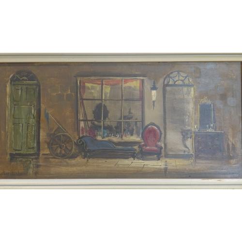 214 - A 20th century oil on panel depicting an interiors shop front, signed Deborah ....?, 15 x 33cm...