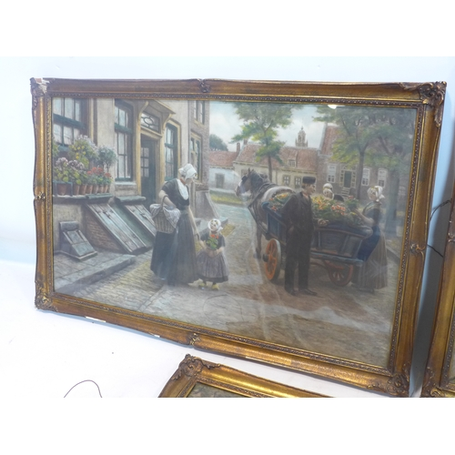 278 - After H. Houber, three oleographs of figures in Continental street scenes, framed, 50 x 74cm...