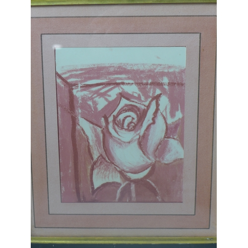 69 - A pastel study of a rose, unsigned, framed and glazed, 18 x 14.5cm...