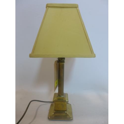 159 - A brass Corinthian column table lamp with shade, H.45cm...