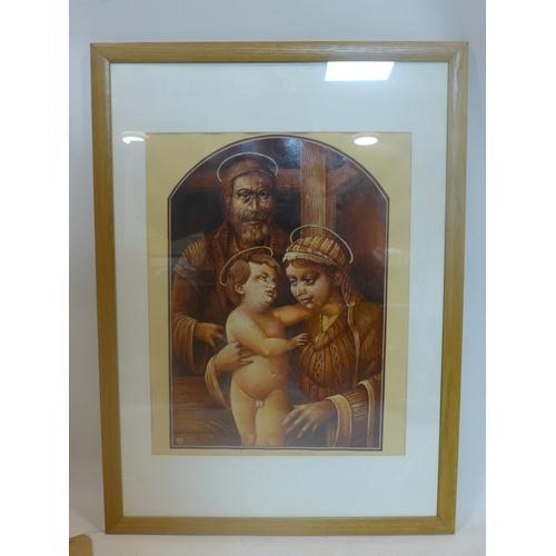 181 - Marek Ploza Dolinski, religious study, oil on paper, dated 1996, 49 x 39cm...