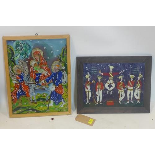 191 - Two 20th century Polish folk art paintings on glass...