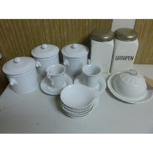 232 - A collection of white continental porcelain...