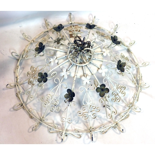372 - A painted metal chandelier...
