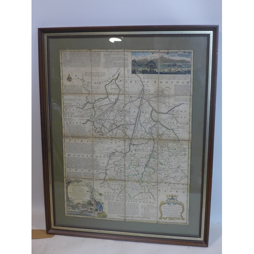 108 - An antique hand coloured map of Cambridgeshire by Eman Bowen, 70 x 52cm...
