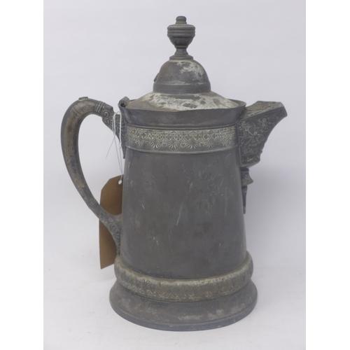 267 - A 19th century Derby silver quadruple plated jug, H.33cm...