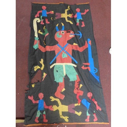 297 - An early 20th century folk art tapestry decpiting horned beast and other figures, damaged, 168 x 96c...