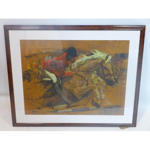 182 - Late 20th century school, 'Horse Jumping', mixed media, signed and dated '91, framed and glazed, 50 ...