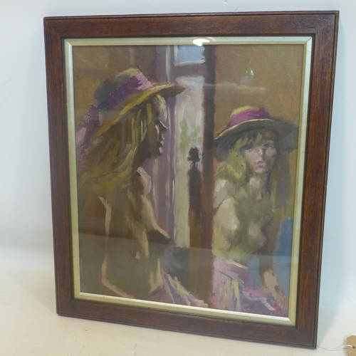 104 - Mid to late 20th century school, A semi-nude lady looking in the mirror, oil on canvas laid down, un...