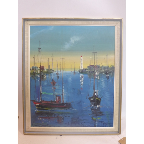 124 - An oil on board of boats in a harbour, inscribed and monogrammed TVK to lower right, framed, 52 x 43...