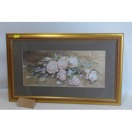 268 - A watercolour of a still life of roses, indistinctly signed to lower left, in glazed giltwood frame,...