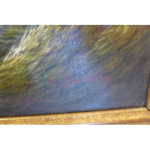 290 - A gilt framed oil on canvas, ships on stormy seas off the coast, signed, 58 x 89cm...