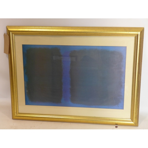 292 - An abstract print in blue and green, in glazed giltwood frame, 37 x 60cm...