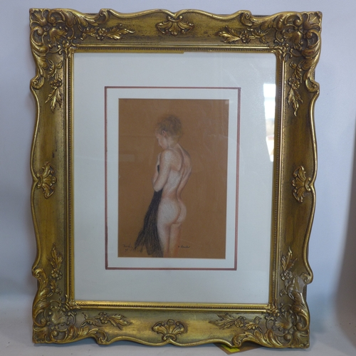 294 - A pastel portrait of a nude lady, indistinctly signed, titled 'K. Maunder' and dated 95, in glazed g...