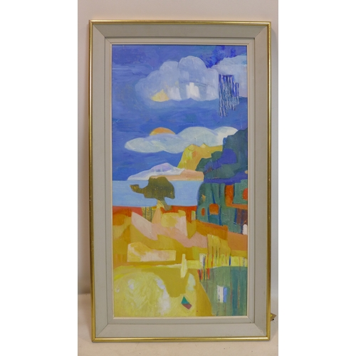306 - A large oil on board abstract townscape with mountain and sea to background, in gilt frame, 100 x 50...