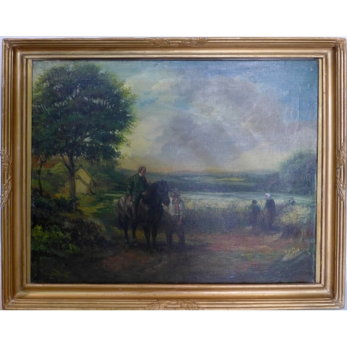 377 - A 20th century rural scene oil on canvas, in gilt frame and signed, 51 x 64cm...